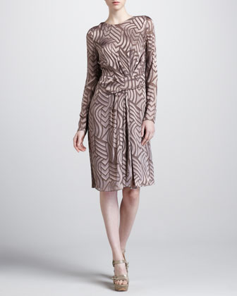 Draped-Front Long-Sleeve Dress