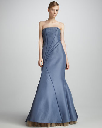Structured Strapless Gown, Soft Iris