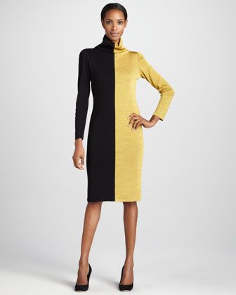 Colorblock Turtleneck Dress, Women's