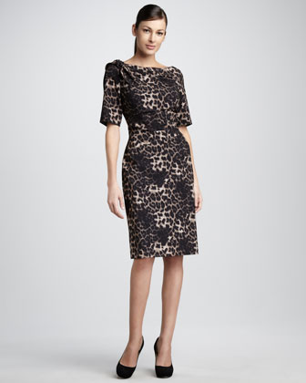 Leopard-Print Half-Sleeve Dress