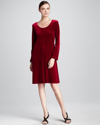 Velvet-Stretch Dress, Women's