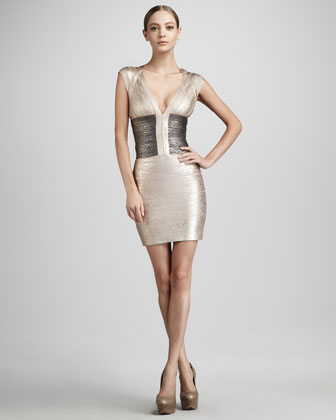 Herve Leger Metallic Colorblock Bandage Dress
