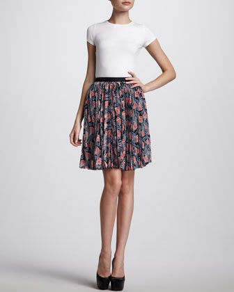Pleated Floral-Print Skirt, Navy/Coral
