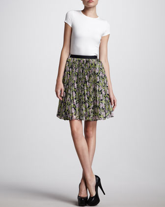 Pleated Floral-Print Skirt, Navy/Lilac