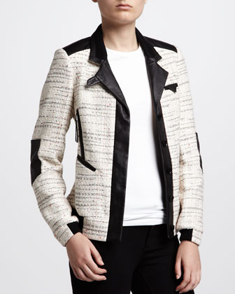 Leather-Trim Tweed Bomber Jacket