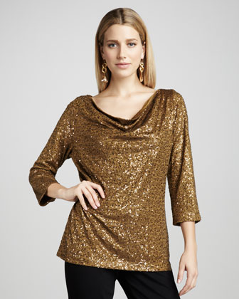 Sequined Silk Top, Women's