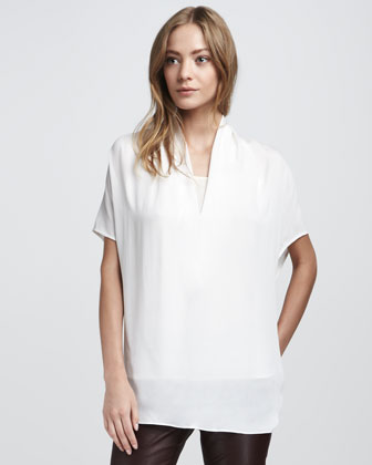 Draped Silk Top, White