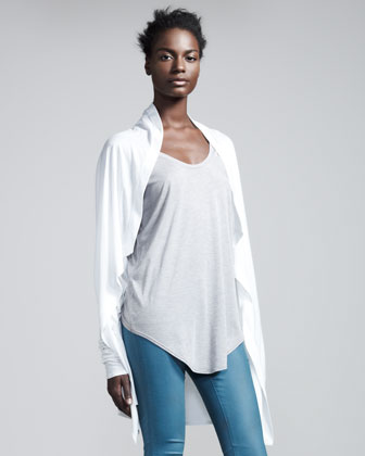 Kinetic Draped Jersey Cardigan, Optic White