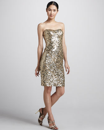 Sequined Strapless Cocktail Dress