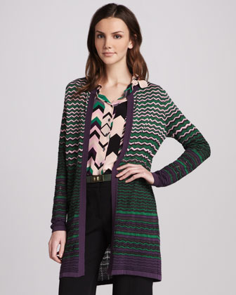 Zigzag-Stripe Long Cardigan