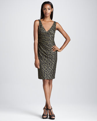 Sleeveless Animal-Print Cocktail Dress