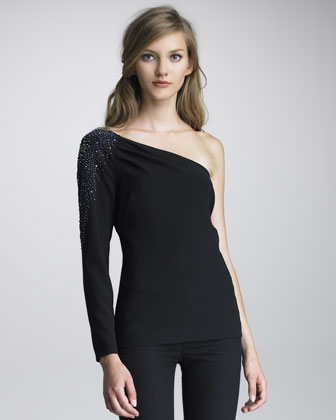 Ashoka Bead-Shoulder One-Sleeve Top