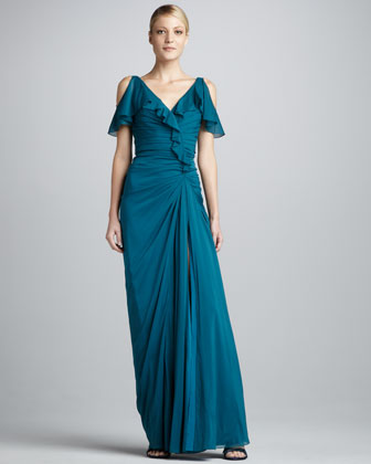 Ruffled Cold-Shoulder Gown