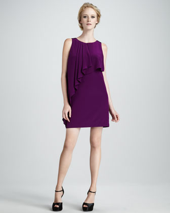 Ruffle-Front Silk Dress