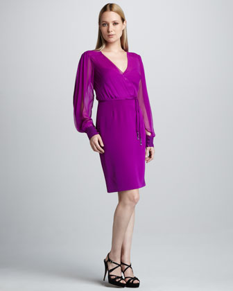 Long-Sleeve Blouson Cocktail Dress