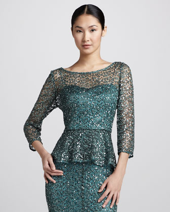 Metallic Lace Peplum Blouse