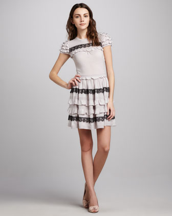 Ruffled Short Sleeve Dress