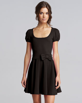 Bow-Waist Jersey Dress, Black