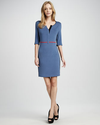 Split-Neck Knit Dress
