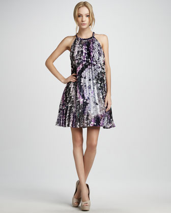 Printed Halter Cocktail Dress