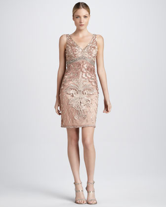 Beaded Cocktail Dress with Deep V Back