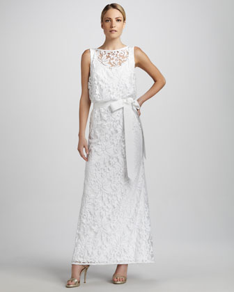 Sleeveless Blouson Gown with Lace Overlay