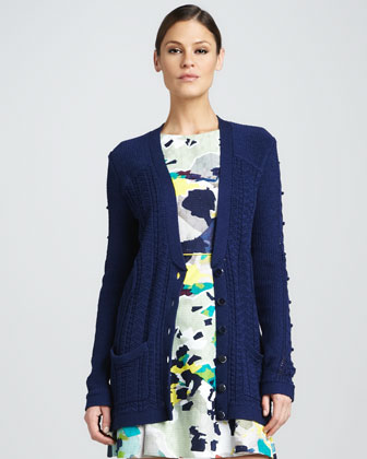 Organic Cable-Knit Cardigan, Navy