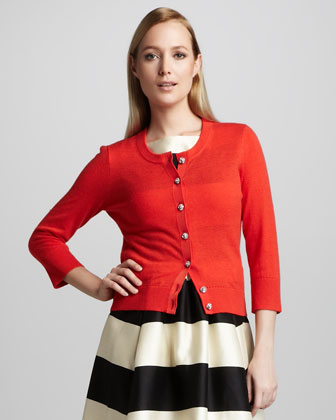 evangelia three-quarter cardigan, maraschino