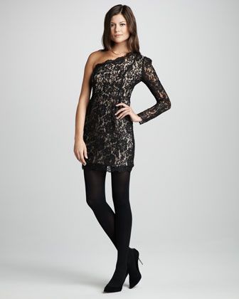 Black Lace Dress  Sleeves on Fitted Lace Dress   Neiman Marcus