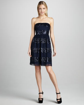 Strapless Sequin-Stripe Cocktail Dress
