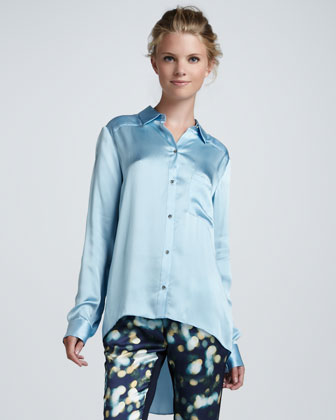 Shawn Satin High-Low Blouse