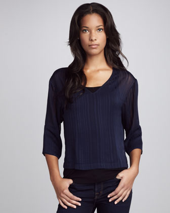 Dark Navy V Neck Top