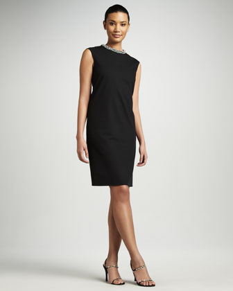 Jeweled Collar Sheath Dress