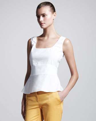 Sleeveless Poplin Peplum Top