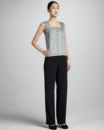 Stretch Crepe Straight-Leg Pants
