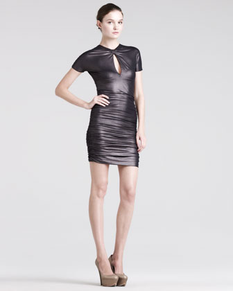 Ruched Keyhole Dress