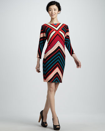 Corinne Chevron Dress