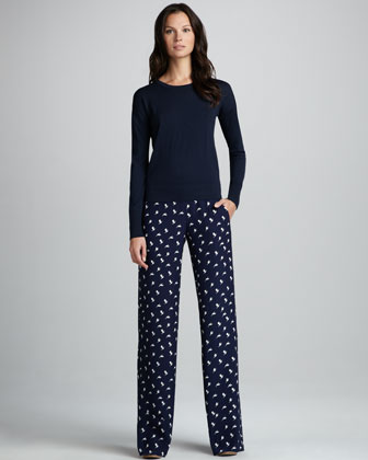 Mitrana Printed Silk Trousers