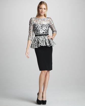 Lace-Bodice Peplum Cocktail Dress