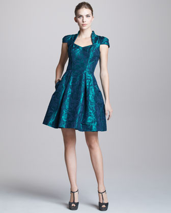 Floral-Jacquard Cocktail Dress