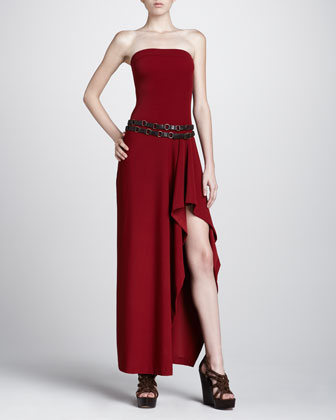 Strapless Coverup Maxi Dress, Cinnabar
