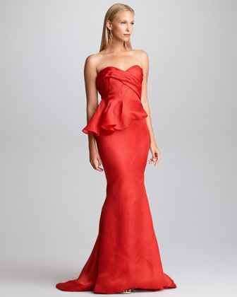 Side-Peplum Mermaid Gown
