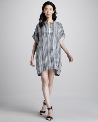 Printed Silk Tunic Dress