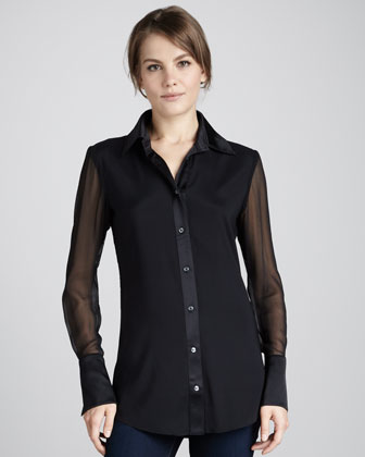 Linda Sheer-Sleeve Blouse