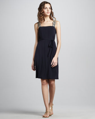 Jacqueline Pleated Bead-Strap Dress