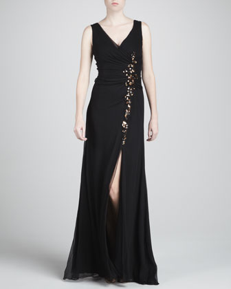 Embroidered V-Neck Silk Gown