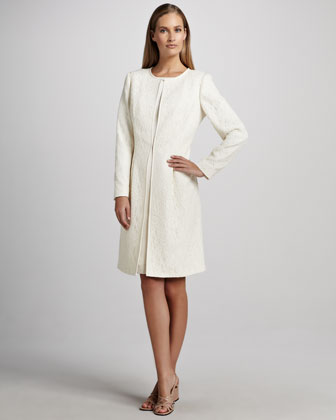 Jacquard Coat over Satin Sheath Dress