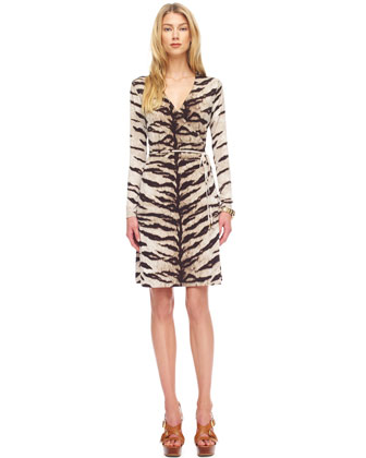 Tiger-Print Wrap Dress, Women's