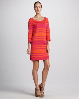 Three-Quarter-Sleeve Striped Dress, Petite