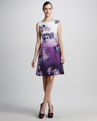 Floral-Print Sleeveless Cocktail Dress